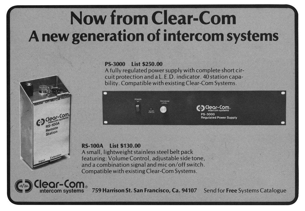 Clear-Com RS 100A Intercom System Remote Station